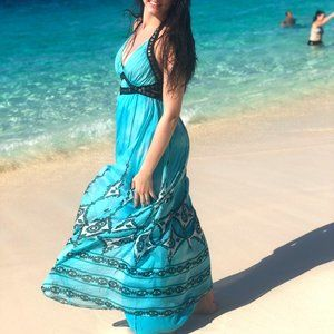 BEBE 100% Silk Aqua Maxi Flowy Dress Women sz XS